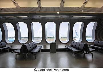 habitación, windows, esperar, aeropuerto., exterior, aviones, vistos, varios