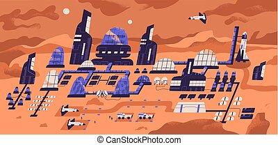 habitat, expédition, moderne, humain, espace, bâtiments, spacecrafts, structures, plat, colonisation, panoramique, débarqué, base, règlement, dessin animé, illustration., surface., planète, mars., vecteur, ou, vue