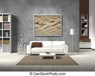 habiter moderne, salle, dans, naturel, couleur