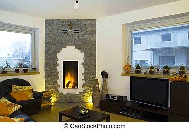 vivant moderne chemin e salle minimaliste wall the mur fauteuil image deux amy photo. Black Bedroom Furniture Sets. Home Design Ideas
