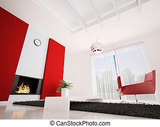 habiter moderne, salle, intérieur, 3d, render