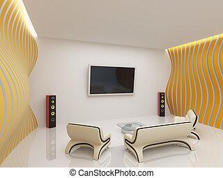 habiter moderne, salle, intérieur