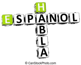 habla, crucigrama, 3d, espanol