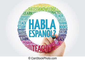 habla, espanol?, (speak, spanish?), palabra, nube, con,...