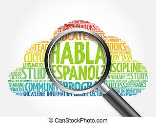 habla, espanol?, (speak, spanish?), palabra, nube