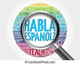 habla, spanish?), (speak, espanol?