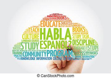 habla, (speak, espanol?, spanish?), palabra, nube