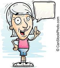 hablar, 3º edad, caricatura, ciudadano
