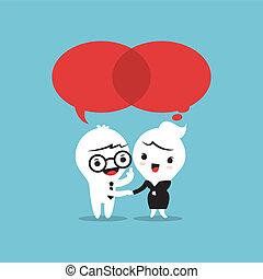 hablar, burbujas, discurso, dos personas