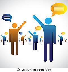 hablar, charlar, iconos, muchos, graphic., gente, ilustración, uno, símbolos, otro, charla, o, oratoria, exposiciones