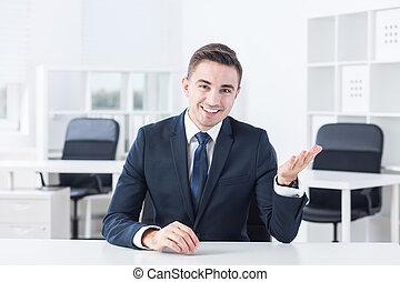 hablar, con, el, trabajador