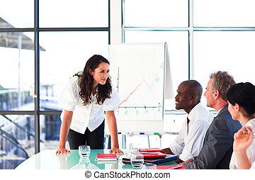 hablar, confiado, reunión, mujer de negocios