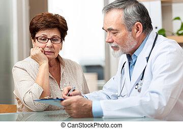 hablar, el suyo, paciente, doctora
