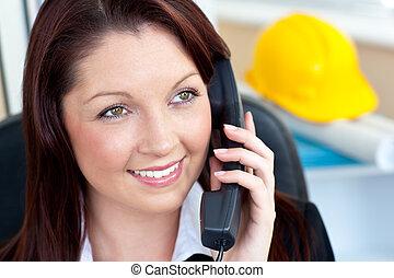 hablar, hembra, teléfono, arquitectura, seguro