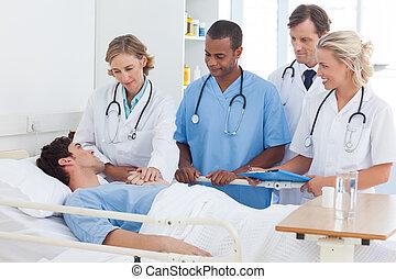 hablar, médico, paciente, equipo