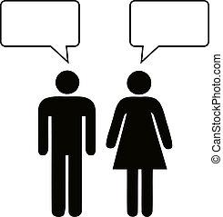 hablar, mujer, hombre