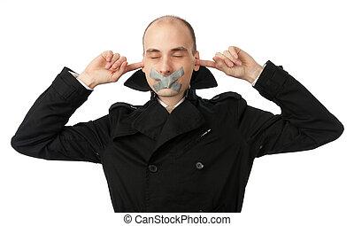 hablar, no, oratoria, oído
