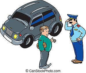 hablar, parado, conductor, coche, policía