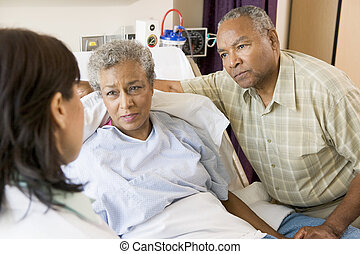 hablar, pareja mayor, doctor