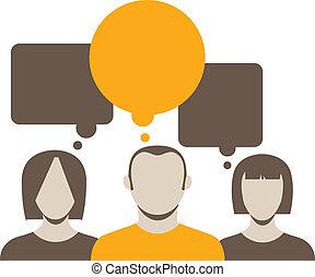 hablar, resumen, colección, gente