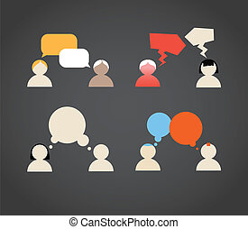 hablar, sillhiuettes, colección, gente