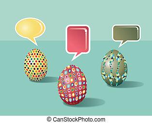 hablar, social, medios, huevos de pascua
