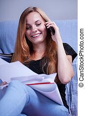 hablar, teléfono, aprendizaje, durante