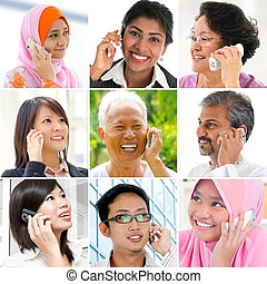 Hablar, teléfono, gente