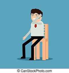 hablar, teléfono, silla, hombre de negocios, sentado