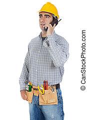 hablar, trabajador, teléfono