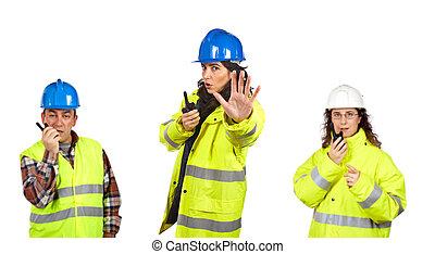 hablar, trabajadores, construcción, talkie, walkie
