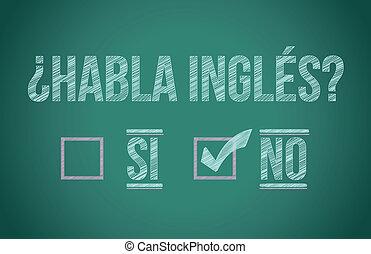 hablar, usted, español, inglés