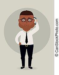 hablar, vector, teléfono., ilustración, hombre de negocios