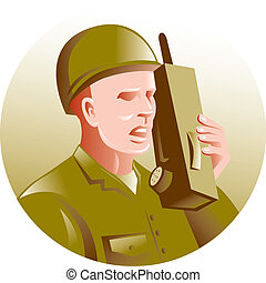hablar, walkie-talkie, radio, soldado, militar