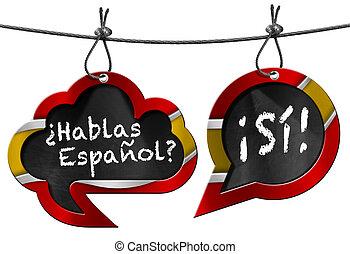 hablas, espanol, -, dos, discurso, burbujas
