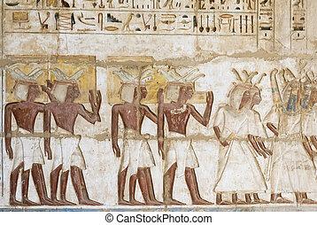 habu, 象形文字, 色, エジプト, medinet, 寺院