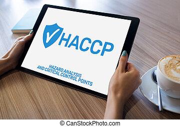 haccp, -, peligro, análisis, y, crítico, control, point., control de calidad, dirección, reglas, para, industria de comida