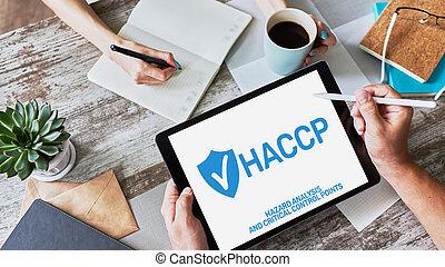 haccp, -, peligro, análisis, y, crítico, control, point., estándar, y, certificación, control de calidad, dirección, reglas, para, alimento, industry.