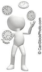 hace juegos malabares, malabarista, horario, manejar, clocks...