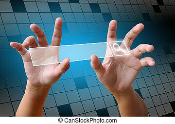 hacer clic, búsqueda, mano, página, internet
