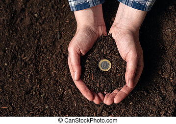 hacer dinero, de, actividad agrícola, y, ganancia, extra, ingresos