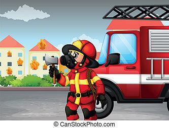 hacha, camión, espalda, tenencia, bombero