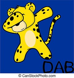 hacha, dabbing, postura, leopardo, caricatura, niño