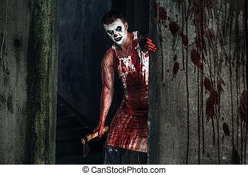 Hacha, sangriento,  clown-maniac