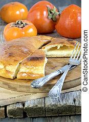 Hachapuri. Georgian cheese pie. - Georgian cheese pie on a...