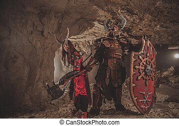 hachas, armadura, pareja, Catacumbas, Plano de fondo,...