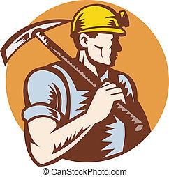 hache, charbon, cueillir, mineur, travail