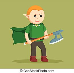 hache, elfe, manier, conception, illustration