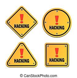 hacher, avertissement, -, signe
