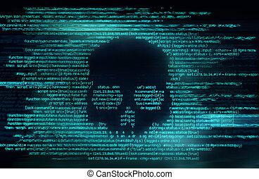 hacher, code, fond, ransomware